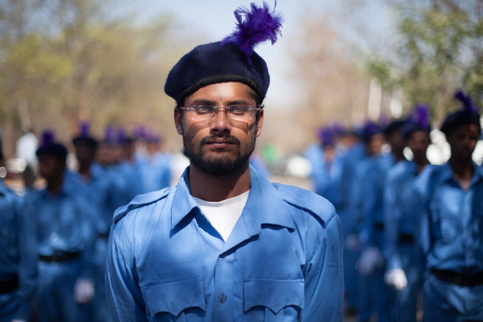 Volunteers of the Samata Sainik Dal (Army of Soldiers for Equality), a social organization founded by Dr. BR Ambedkar with an aim to establish equality among Indians by annihilating caste, pay their respects to Rohith Vemula on what would have been his 27th birthday on January 30, 2016 at the protest site.